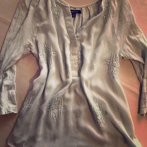 Vintage inspired light mint flowy shirt - Medium